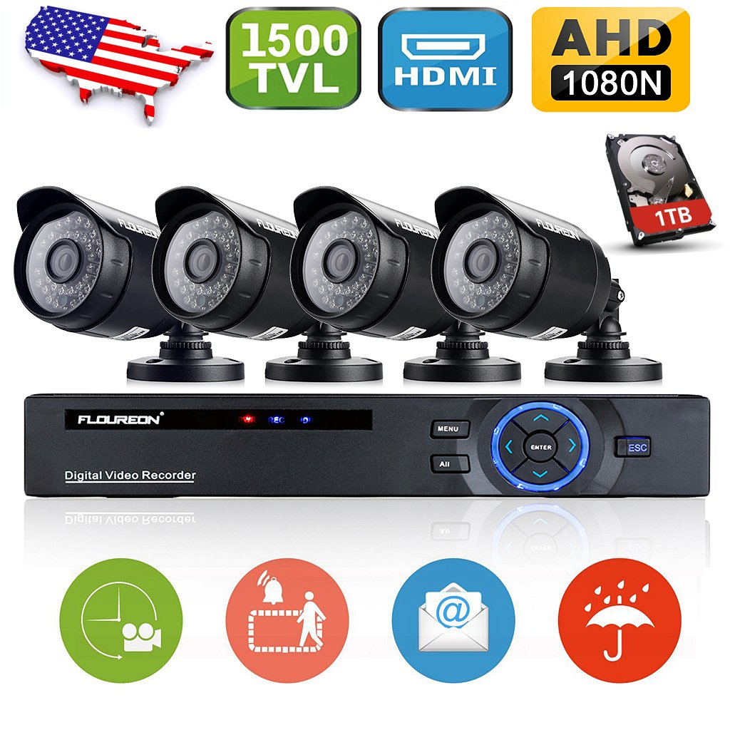 Amazon.com : Floureon 8CH AHD 1080N DVR Video Security System + 4 720P 1500TVL Waterproof Cameras IR LED CCTV Security Cameras (1TB Hard Drive) : Camera & ...