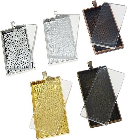 Julie Wang 10 Sets Mixed Color Rectangle Bezel Tray Setting w//Glass Tile Cabochon Pendant Kit