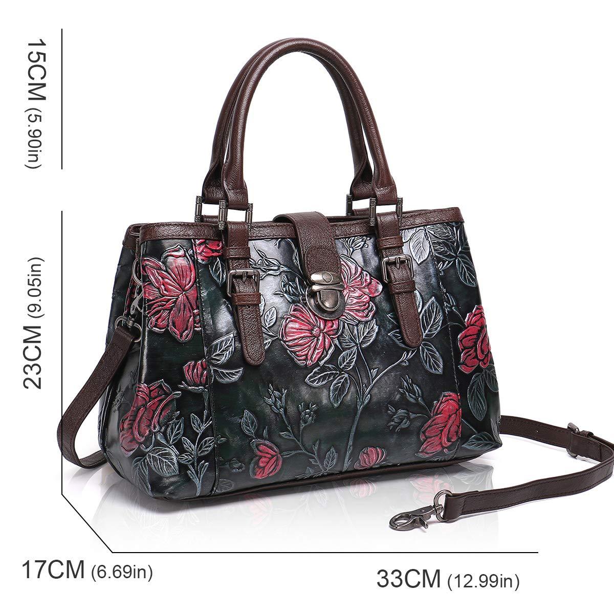 ba04d34a774e APHISONUK Designer Women Genuine Leather Handbag Large Capacity Ladies Tote  Bags Embossed Flower Shoulder Bag (Black)