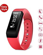 SMBOX Smart Fitness Tracker Watch Waterproof Strap Activity Tracker, Step Calories Counters, Sleep Monitor, Call/SMS Reminder, Fitness Watch Built-in USB Charger For Women Men Kids (Red)