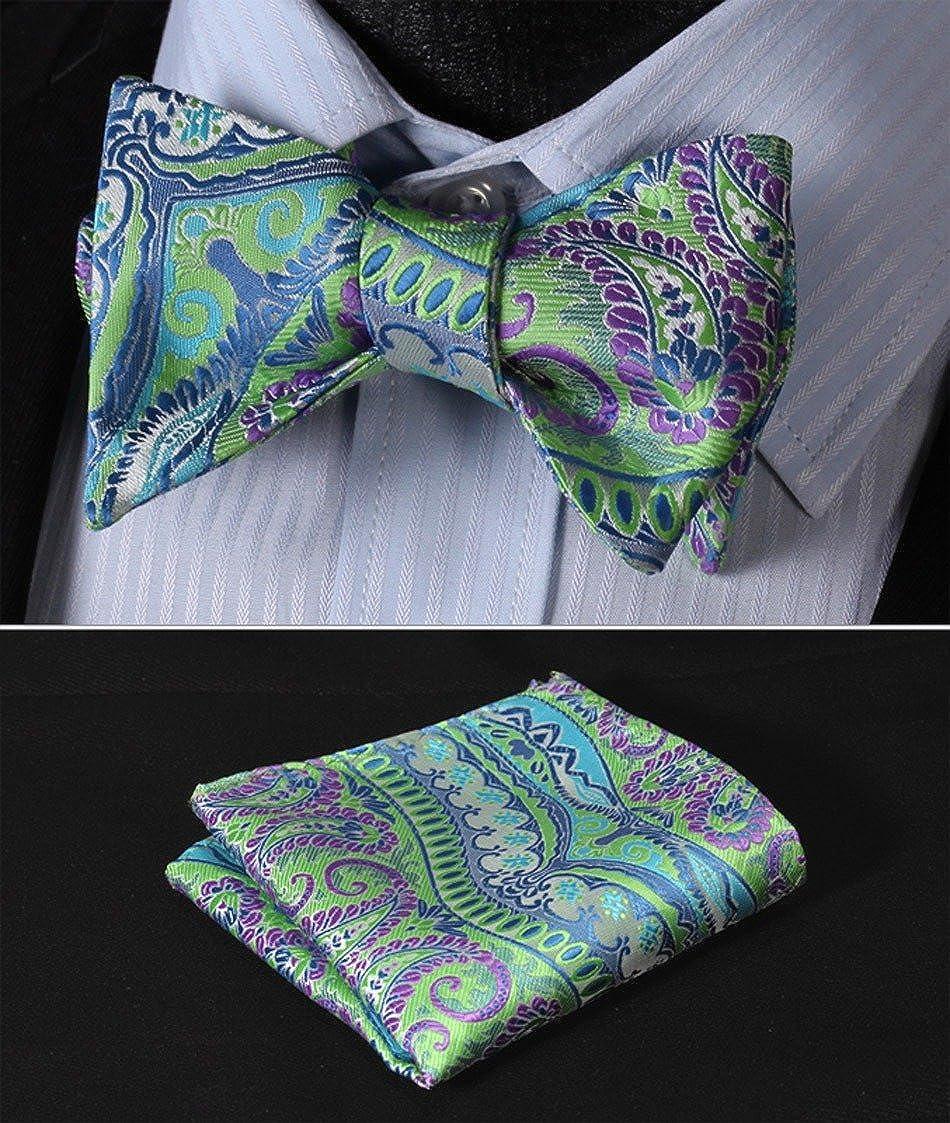 HISDERN Mens Paisley Floral Jacquard Self Bow Tie Pocket Square Set