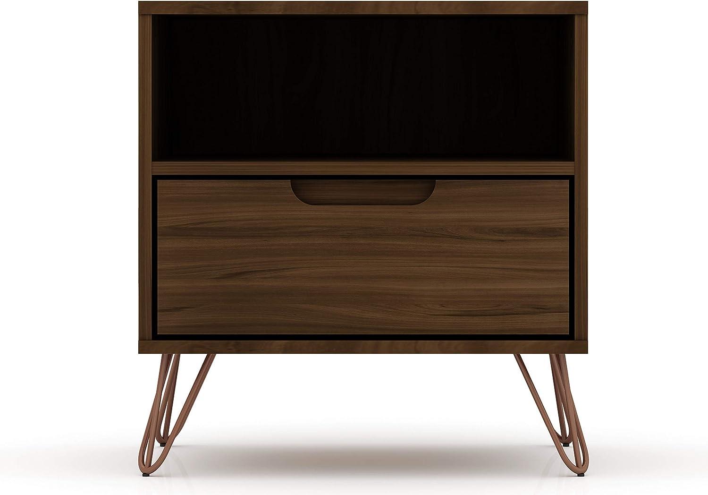Manhattan Comfort Rockefeller Mid-Century Modern 1 Drawer Bedroom Nightstand, 20.08
