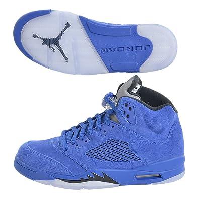 030fb80c8b24 Jordan Men Air 5 Retro blue game royal black Size 9.0 US