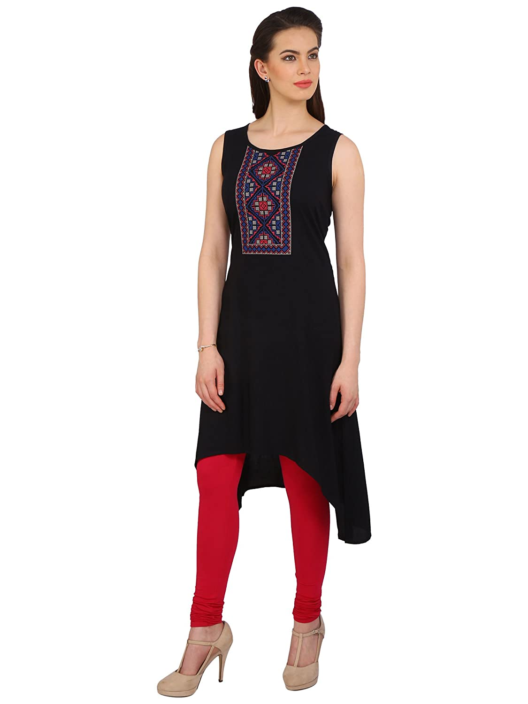 290e0493a7968 Srishti by fbb by fbb Women's Black Embroidered Kurta: Amazon.in: Clothing  & Accessories