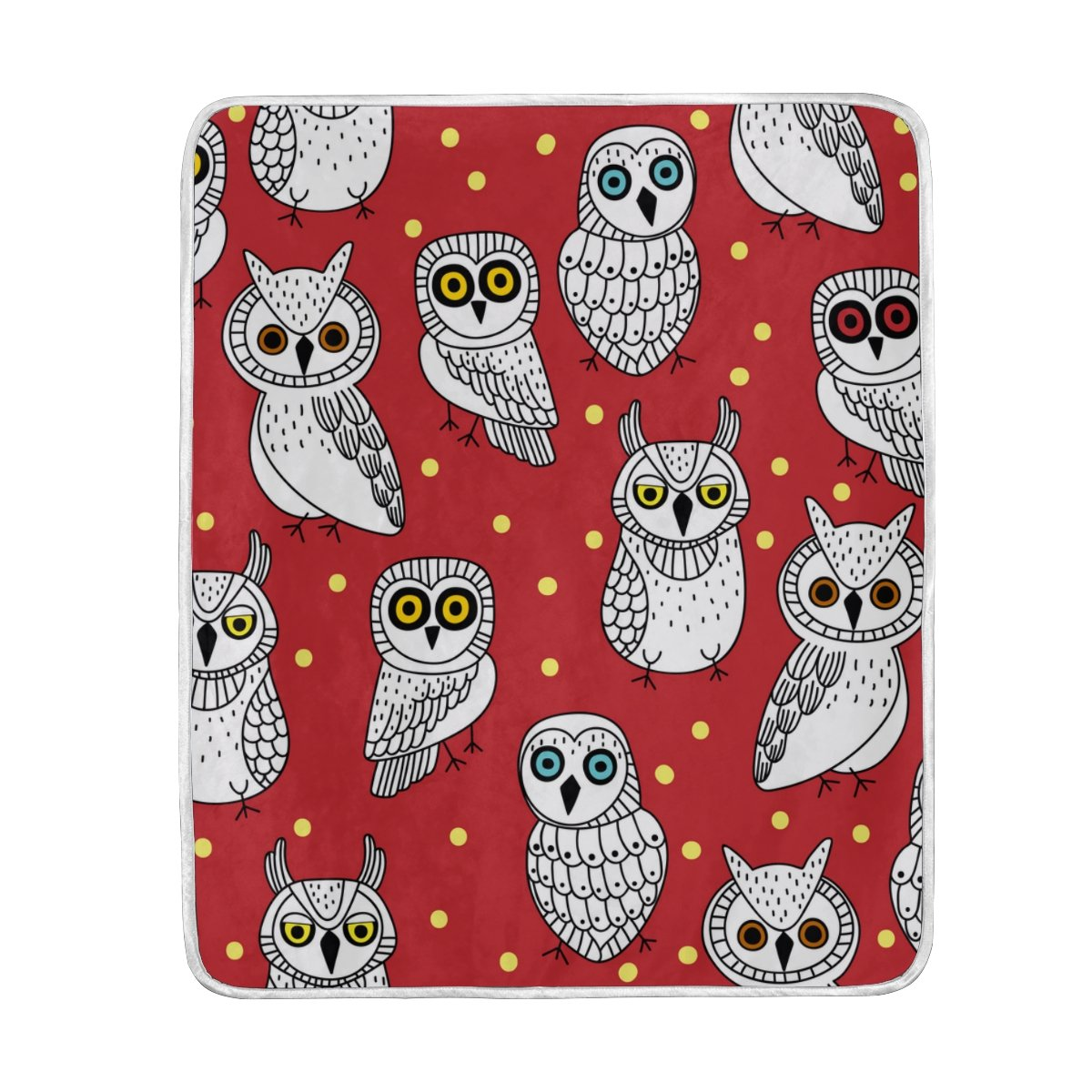 My Little Nest Warm Throw Blanket Cute Owl Lightweight Microfiber Soft Blanket Everyday Use for Bed Couch Sofa 50'' x 60''