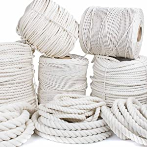 GOLBERG Twisted 100% Natural Cotton Rope - White Cotton Rope - (3/16 inch x 100 feet)