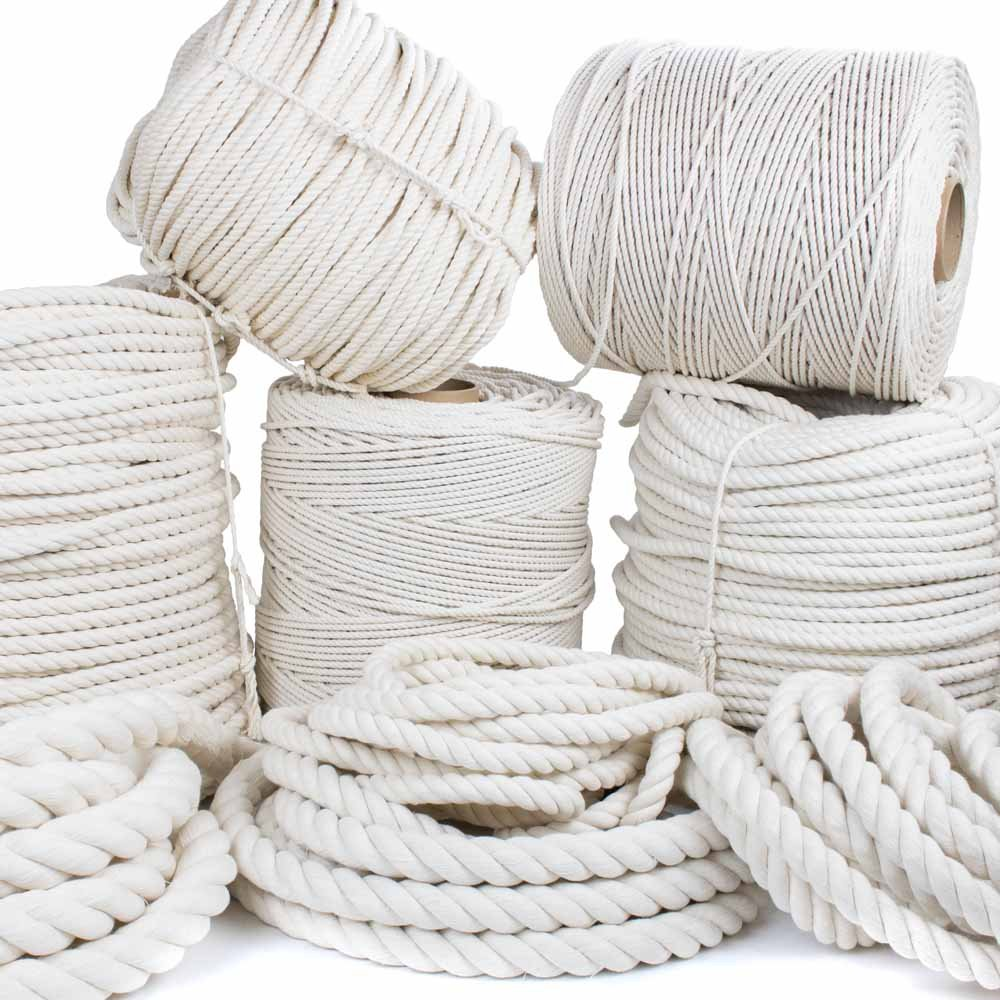 GOLBERG Twisted 100% Natural Cotton Rope 5/32'', 3/16'', 7/32'', 1/4'', 5/16'', 3/8'', 1/2'', 5/8'', 3/4'', 1'', 1 1/4'', 1 1/2'' - White Cotton Rope - Several Lengths to Choose