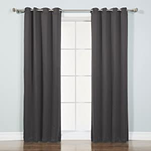 """Best Home Fashion Thermal Insulated Blackout Curtains - Antique Bronze Grommet Top - Dark Grey - 52"""" W x 90"""" L (Set of 2 Panels)"""