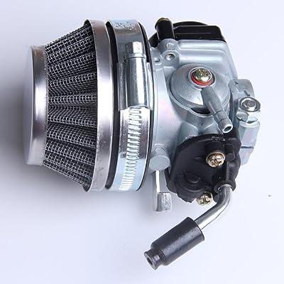 49cc 50cc 80cc 2 stroke Bicycle Bike Motorized Racing Carb Silver Carburetor Air Filter kit (Silver): Automotive