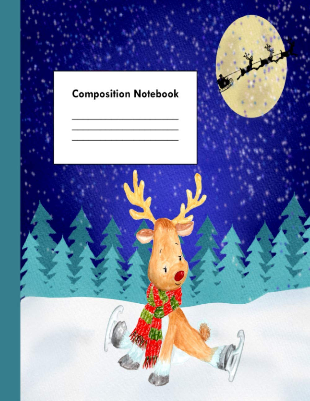 Christmas Reindeer Story 2020 Christmas Reindeer Composition Notebook   100 Ruled Pages   8.5x11