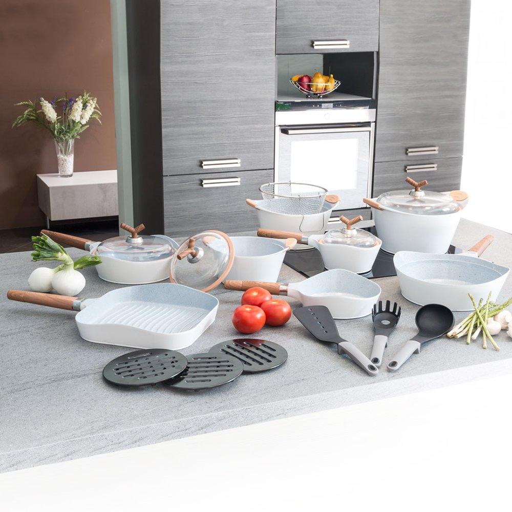 Cecotec Batería de Cocina de 19 Piezas Premium White Stone Sartenes y ollas de Alta Gama. Revestimiento Ceramium. Aptas para Todas Las cocinas. ...