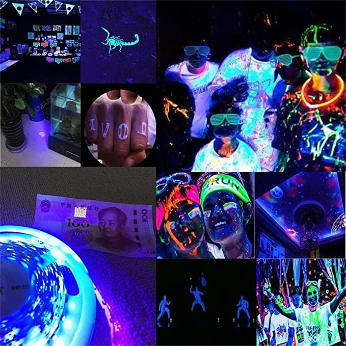 Super waterproof uv lights led blacklights strip fixtures amars 5 meters 16 4 feet 3528 smd 395nm 405nm dc12v led ultraviolet strip for outdoor indoor