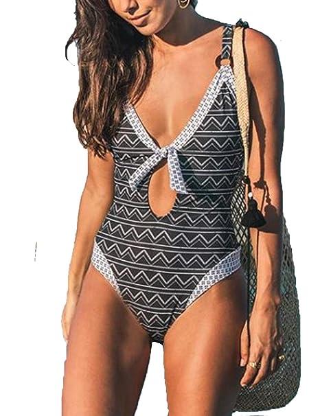 Amazon.com: Macolily traje de baño para mujer con escote en ...