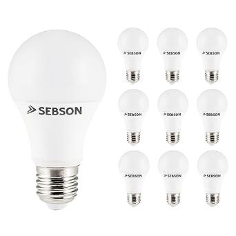 SEBSON® 10x RA95 + flicker free, E27 Bombilla LED 11W, Calido Blanca 2700K