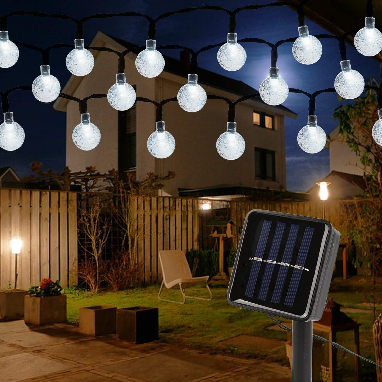 Mitening Guirnaldas Luces Solar Clase de eficiencia energ/ética A 100 LED 12M Cadena Solar de Luces Guirnalda Luminosas para Jardines IP65 Impermeable 8 Modos Luces Decorativas Boda Casas Fiesta