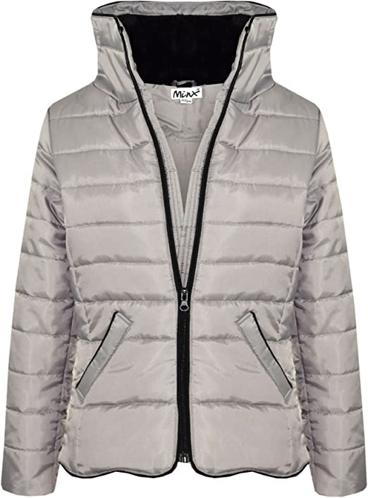 Kids Girls Jacket Padded Puffer Cream Bubble Faux Fur Collar Warm Coats 5-13 Yr