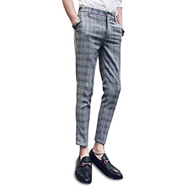 730ae471ae83 MRxcff New Summer Casual Pants Male Korean Slim Feet Trend Wild Plaid  Cropped Pants Youth Business Men Pants at Amazon Men's Clothing store: