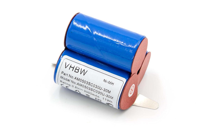 vhbw NiMH batería 3000mAh (3.6V) para robot aspirador robot autónomo ...