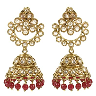MUCHMORE Indian Glamorous style Gold Plated Party Wear Polki/Jhumka Earring Jewellery For Women K5bKEzlZ