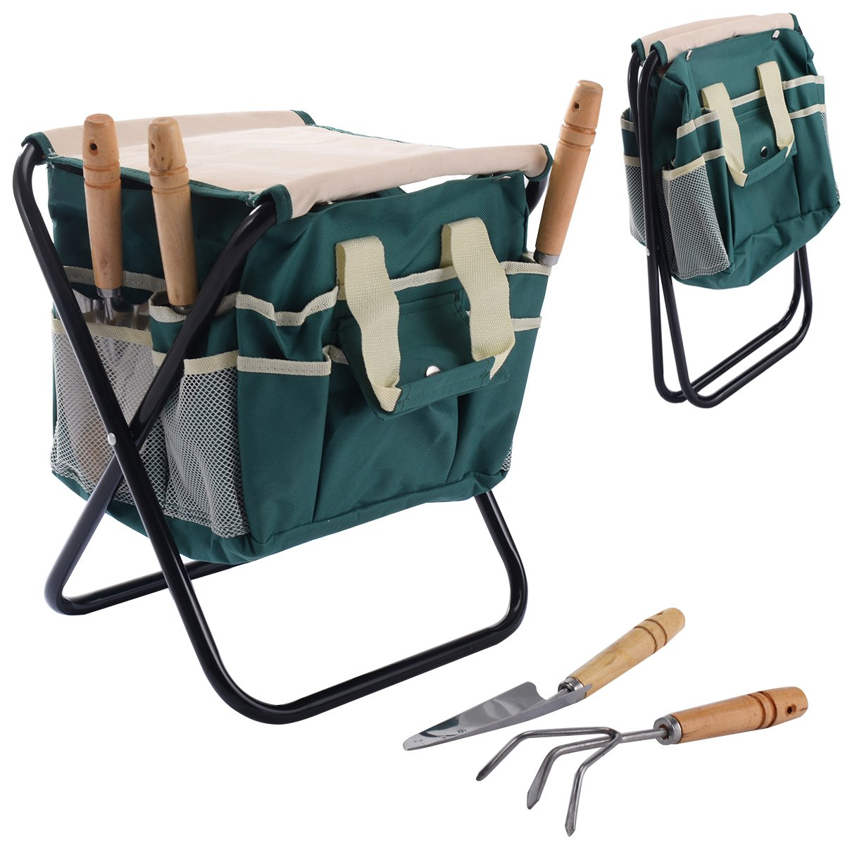 Casart Garden Tool Stool with 5PCS Essential Garden Hand Tools Folding Storage Bag Seat Toolbag Outdoor Green