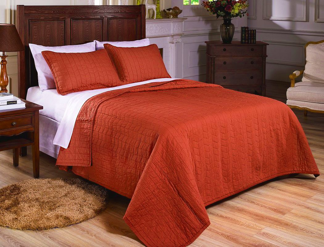 Good Amazon.com: Chezmoi Collection 3 Piece Vintage Washed Solid Cotton Quilt  And Shams Set, King, Rust Orange: Home U0026 Kitchen