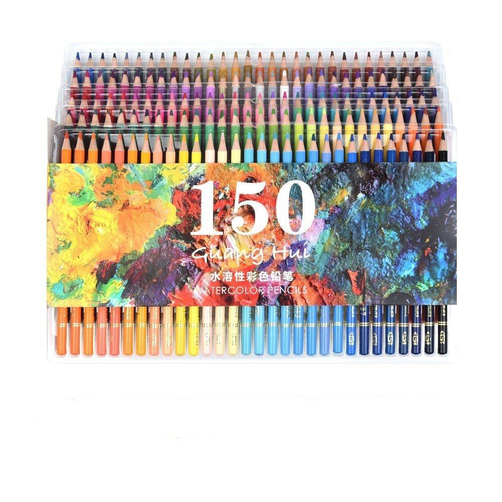 150acquerello matite–Ectech professionale solubili in acqua matite colorate per disegno artistico, schizzi, libri da colorare