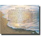 """Inspirational Footprints Poem in the Sand Canvas Wall Art Beautiful Picture Prints living Room Bedroom Home Decor Decorations UnStretched And No Framed 17""""x13"""""""