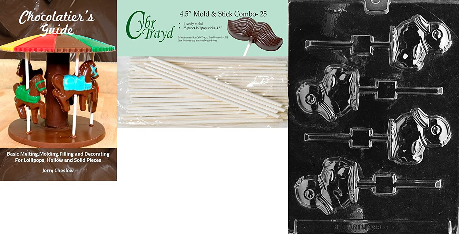 Cybrtrayd 45St25Bk-E159 Duck Lolly Easter Chocolate Candy Mold with 25 4.5-Inch Lollipop Sticks and Chocolatiers Guide