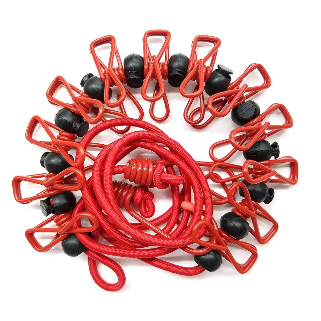 Sundell Adjustable Clothes Rope with 12pcs Clothespins and Positioning Balls Home Style Camping Windproof Retractable Clothes Line for Outdoor and Indoor Use,Black Portable Travel Elastic Clothesline