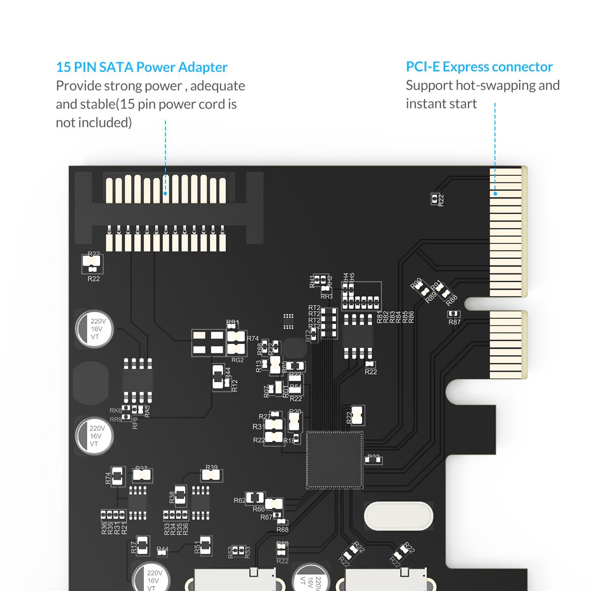 Amazon.com: ORICO USB3.1 PCI-E Expansion Card Adapter with 2 ...