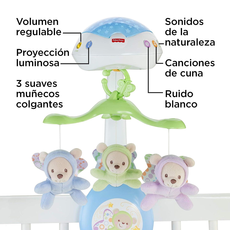 Mattel CHR11 juguete de cuna con m/úsica para beb/é Fisher-Price M/óvil musical 3 en 1