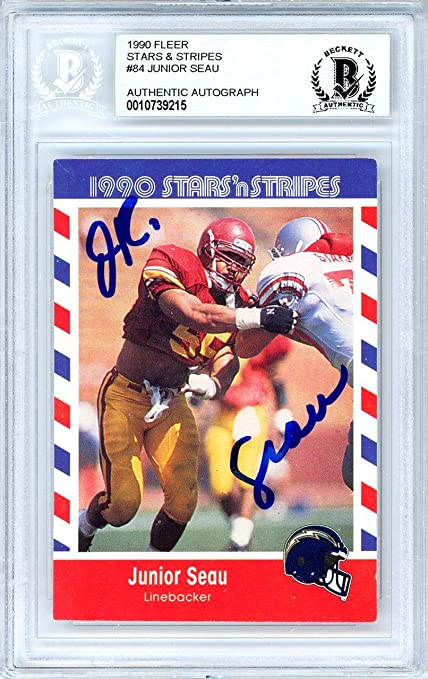78adc3d0dc Junior Seau Autographed 1990 Fleer Stars 'N Stripes Rookie Card #84 San  Diego Chargers