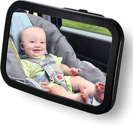 【Reflejo de cristal grande】 espejo retrovisor bebé, a través de una visión amplia para mejorar la se