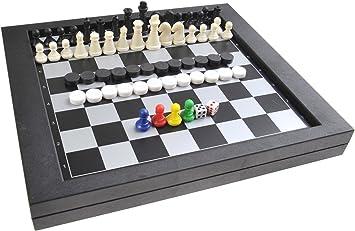 Quantum Abacus Juego de Mesa magnético 3-en-1 (tamaño estándar): Ajedrez, Damas, Serpientes y Escaleras - Piezas magnéticas, 23cm x 20,5cm x 2,7cm, Mod. SC6710 (DE): Amazon.es: Juguetes y juegos