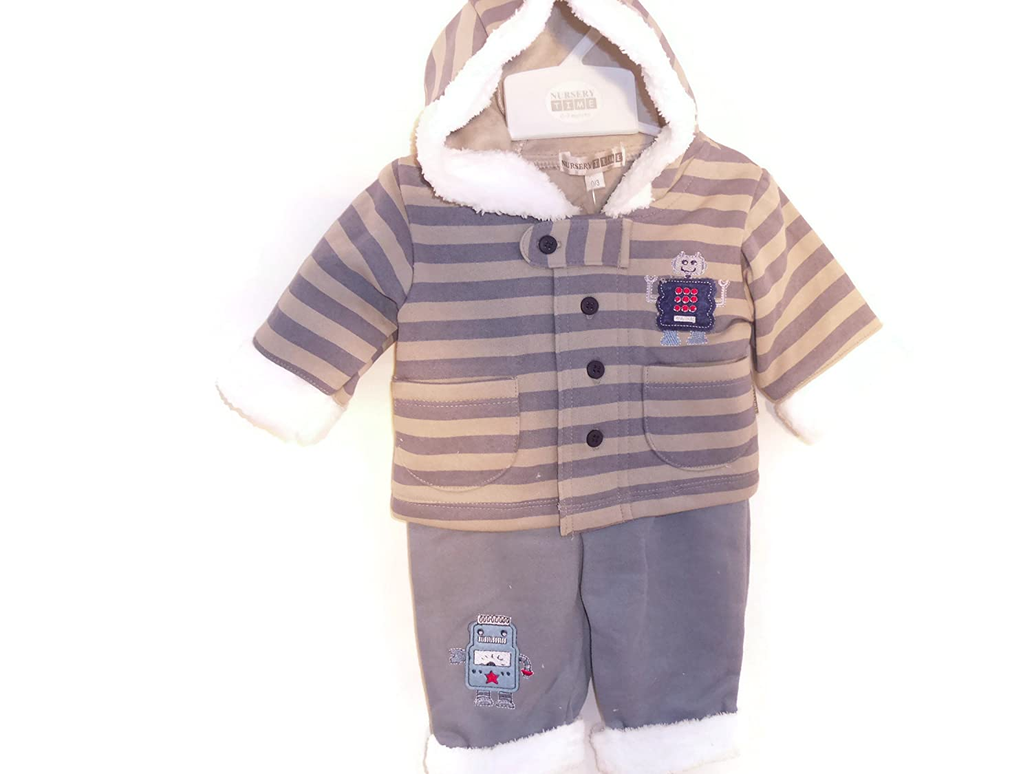 2 Pc Hood Air Force & Grey Stripe Top with Motifs & Air Force Trousers (0-3 Months) Nursery Time 1143