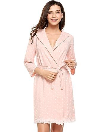 b81beeb0cb Avidlove Womens Bathrobe Soft Kimono Cotton Knit Robe Lace Trim Sleepwear,  Pink, X-Large at Amazon Women's Clothing store: