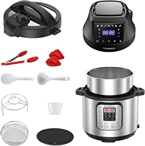Rozmoz Pressure Cooker & Air Fryer Combos, 6 Qt Multi-Cooker with Pressure & Crisping Lid, Instant Stainless Steel Pot, Air Fryer, Slow Cooker, Saute, Yogurt Maker, Warmer, Recipes, 9 Accessories