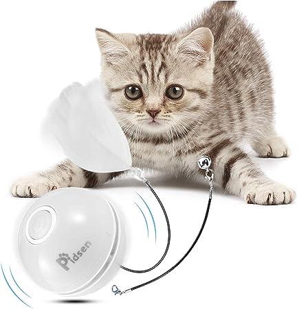 Pidsen Bola de Gato,Juguetes Gatos Pelotas, Juguete para Mascotas con Carga USB, Luz LED Giratoria Incorporada, 2 Modos de Iluminación & Adjunto Pluma con Campana: Amazon.es: Productos para mascotas