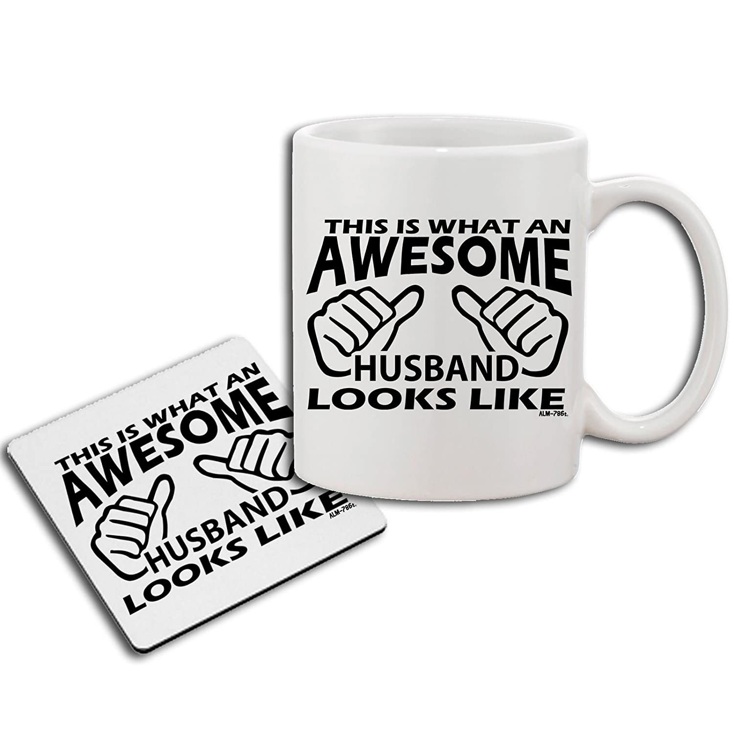 Mens Funny Amusing Printed Awesome Husband Sweatshirt, Mug, Coaster Gift Set ALM786t