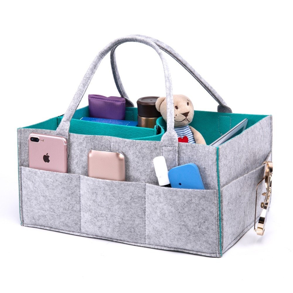 Portable Baby Diaper Caddy: Perfect Travel Organizing Basket for Babies and Kids' Toys & Essentials - Cool and Stylish Nursery Organizer with Free EVA Animal Pieces