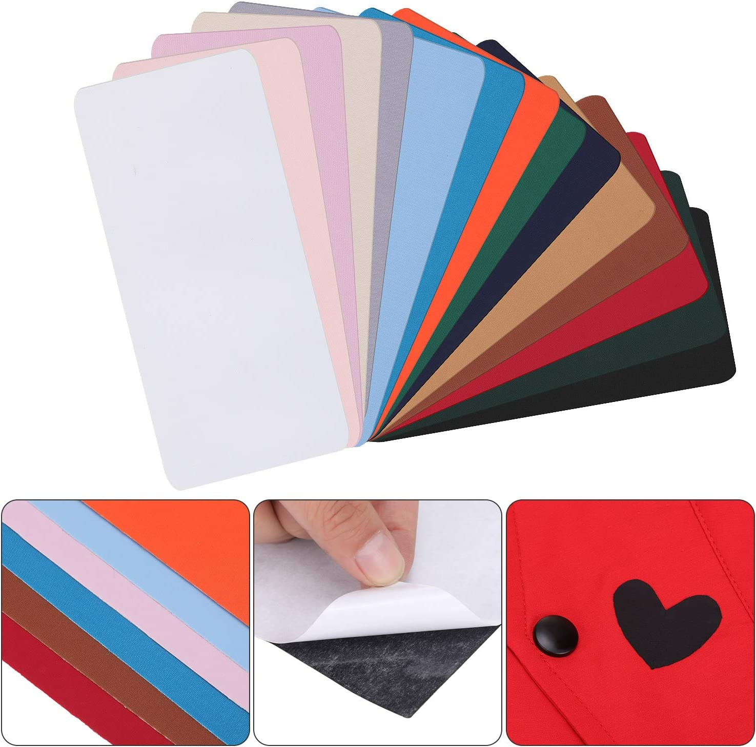 Black 18 Pieces Repair Patches Self-Adhesive Nylon Patch Waterproof Lightweight Repair Patches for Clothing Down Jacket Repair Holes Tearing Fabric 7.87 x 3.94 inches