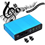 VAlinks 6 Channel External Sound Card 5.1 Surround Sound USB 2.0 External Optical S/PDIF Audio Sound Card Adapter for PC Laptop Recording Compatible with Windows 10 / 8 / 7/ XP