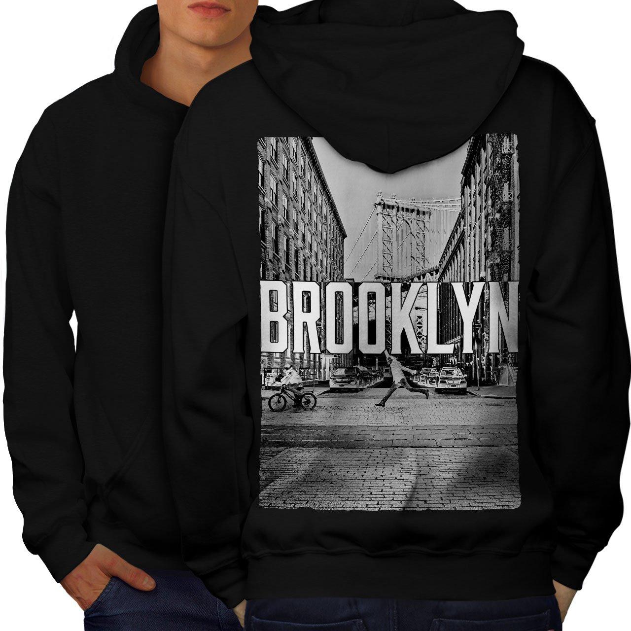 Wellcoda Brooklyn Urban Street Mens Hoodie, Grey City Design on the Jumpers Back
