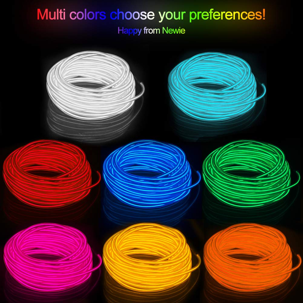 Advertisement Decoration Yellow El Wire 16.5ft Waterproof Electroluminescent Wire with Battery Pack for Parties Automotive