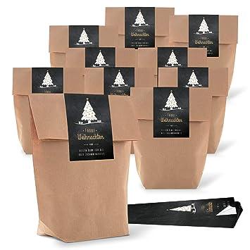 25 pequeñas bolsas de papel marrón natural 16,5 x 26 x 6,6 cm +