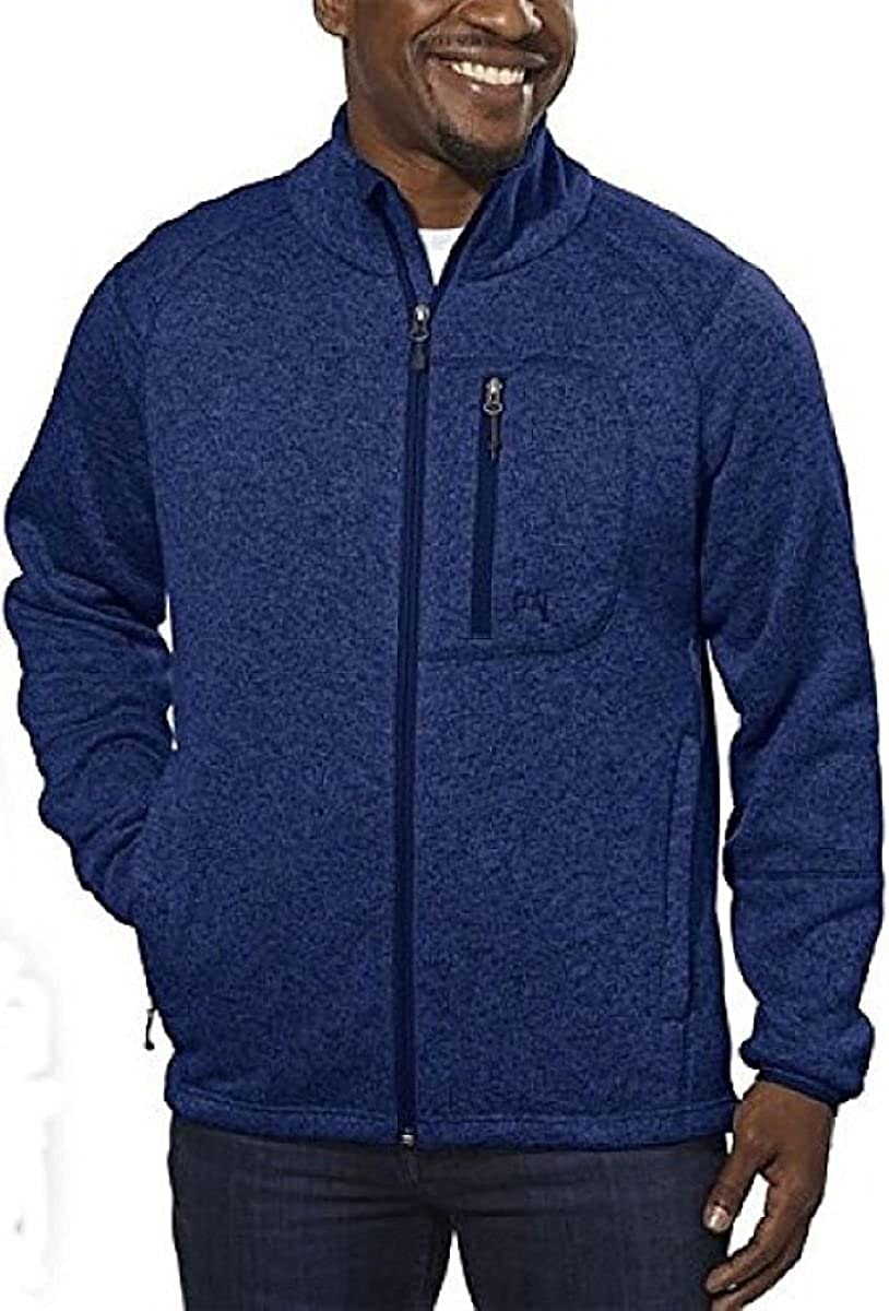 Avalanche Mens Brighton Outdoor-inspired Full Zip Fleece Sweater Jacket Large, Mariner Blue