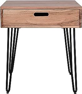 Jofran Inc. Rollins Solid Acacia End Table, Natural