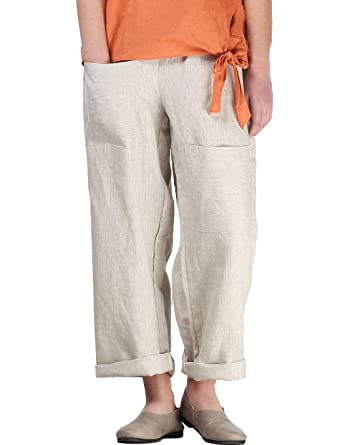 dfc9acb0be Mordenmiss Women's Casual Cotton Linen Pant w/Unique Pockets