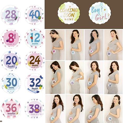 Zoylink 14 foglietti adesivi pancia numeri settimanali foto adesivi pancia Adesivi gravidanza decorazioni Adesivi maternit/à