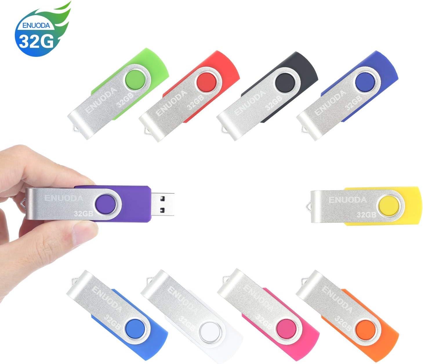 10 Piezas 32GB USB 2.0 ENUODA Pendrive Multicolor Pivote Memorias Giratoria Plegable Diseño de Cierre (10 Colores Mezclados): Amazon.es: Electrónica